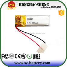 Manufacture supply Rechargeable 3.7v 100mah Lithium ion batery 501225 lipo battery
