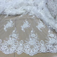 2016 wholesale fashion lace material hand beaded embroidery lace/beaded fabric for wedding dress