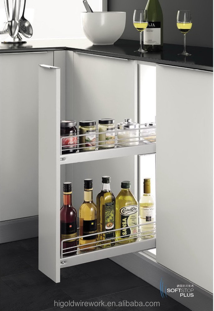 Hettich slider modern Iron narrow basket kitchen cabinet hardware