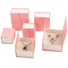 custom logo printed jewelry boxes set magnetic closure pink cardboard ring boxes