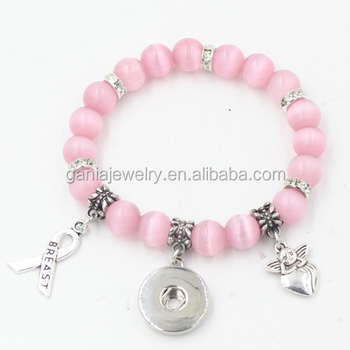 Wholesale DIY Snap Jewelry Pink Opal Bead with Interchangeable18mm Button Breast Cancer Ribbon Angel Bracelet for women gift