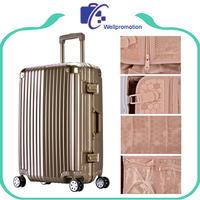 Custom striped suitcase luggage gold with big capacity