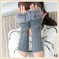 Women Knit Crochet Long Fingerless Winter Gloves Arm Warmer Mitten For Winter
