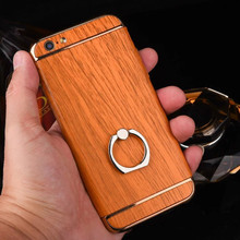 Wood Phone Case for iphone, 3 in 1 Electroplating Wooden Ring Holder Phone Case for iphone 7