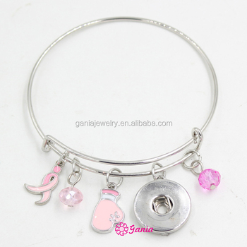 Wholesale Breast Cancer Awareness Jewelry Pink Ribbon Fighting Box Gloves Cancer Bracelet Wire Snap Bangle&Bracelet for Women
