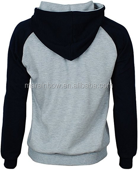 Heavyweight Blank 20% Polyester 80% Cotton Fleece Pullover Hoodie Contrast Raglan Long Sleeve Men's Hooded Sweatshirt OEM
