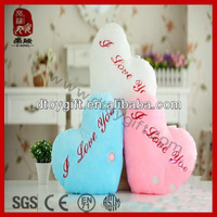 Valentine's day cushion wholesale stuffed LED shinning pillow/cushion plush heart pillow