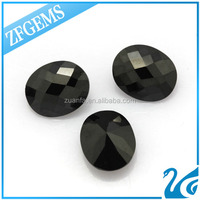 Good polishing oval shape black cubic zirconia oval costume gem