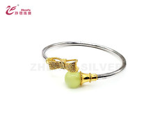 925 sterling silver fashion bowknot gold and rhodium double color charm bead bracelet bangles for women