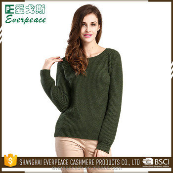 Custom casual wearing colorful cotton long sleeves ladies sweaters