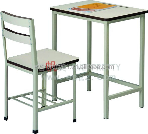 Wood Single Seats School Desk With Chair Students Sitting Benches