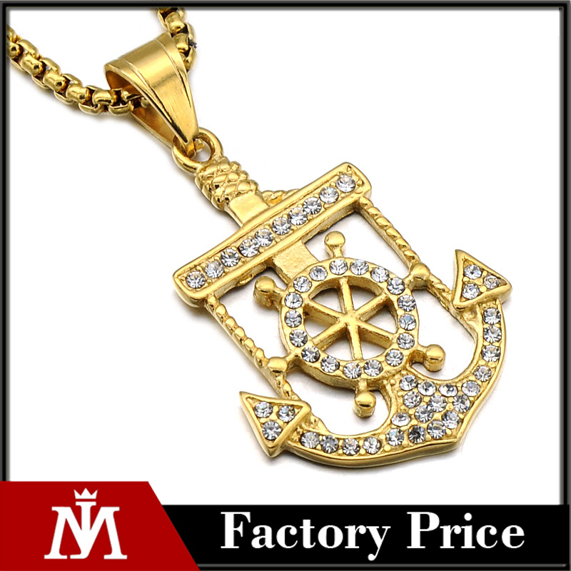 Cheap Pvd Gold Stainless Steel Diamond Anchor Charm Pendant Necklace Jewelry