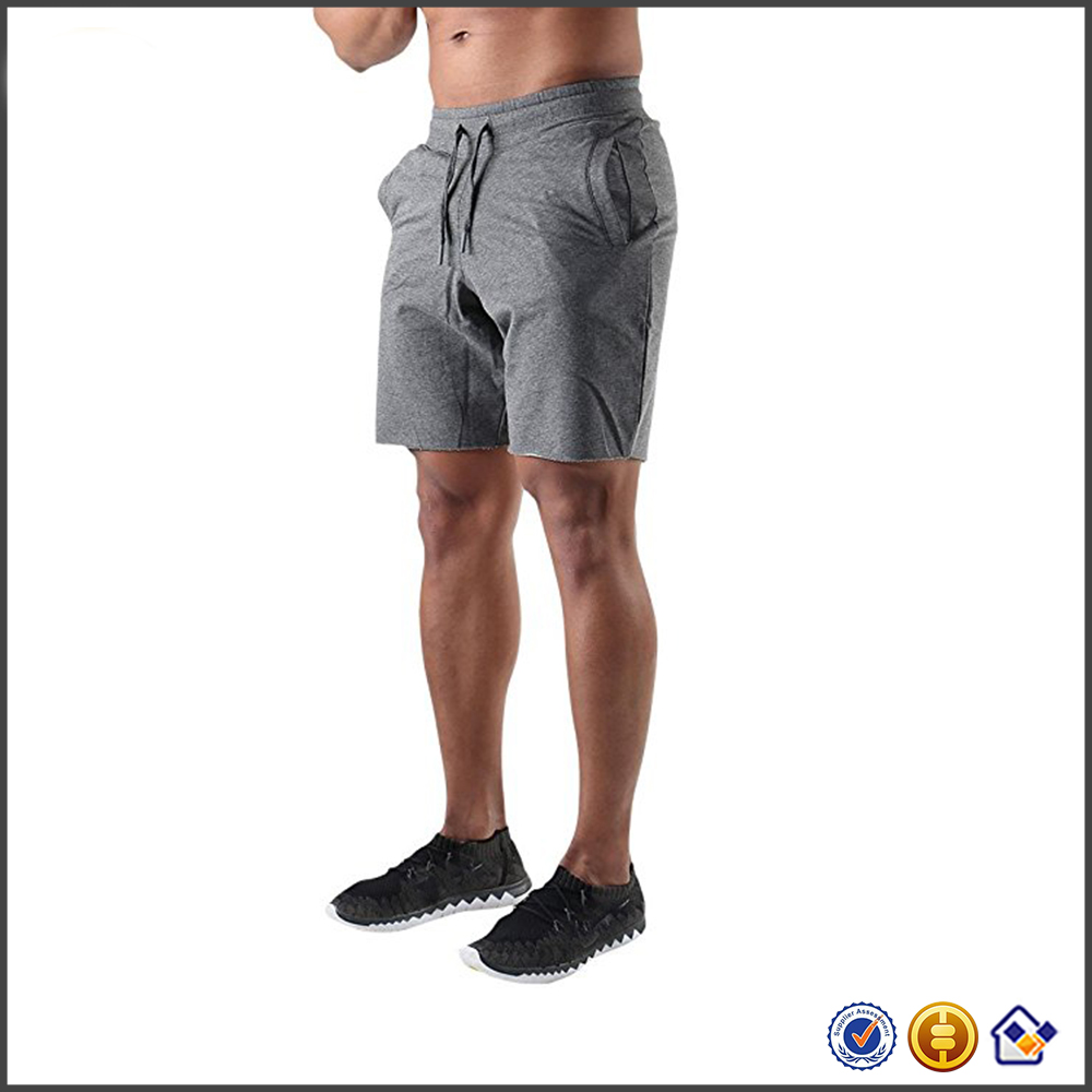 KY 2017 wholesale good quality custom Men's Gym Workout Training Running Bodybuilding Cotton Shorts with Pockets
