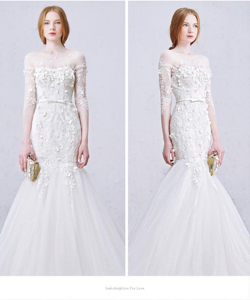 Hot Sell Three-quarter Sleeve Bridal Gown Fishtail Train Wedding ...
