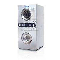 8kg 10kg 12kg 15kg 20kg Commercial token coin operated laundry washing machine/Stacked washer and dryer