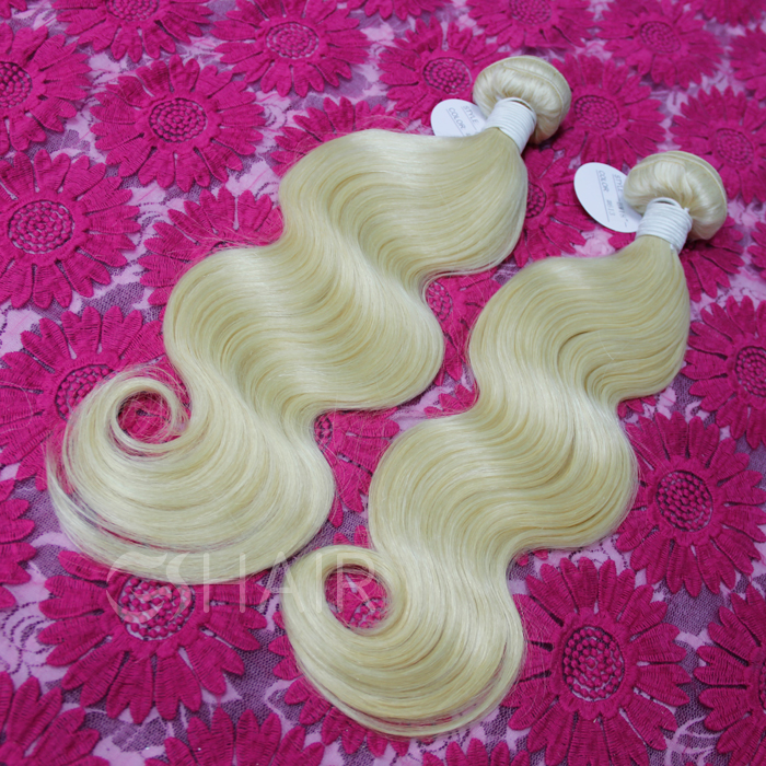 #613 body wave 2pcs/lot blonde virgin hair russian hair extension <strong>human</strong>