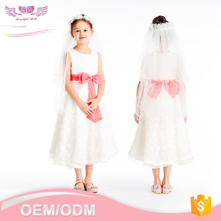 Wholesale fashion new style white long baby girl party children frocks designs or flower girl kid dress