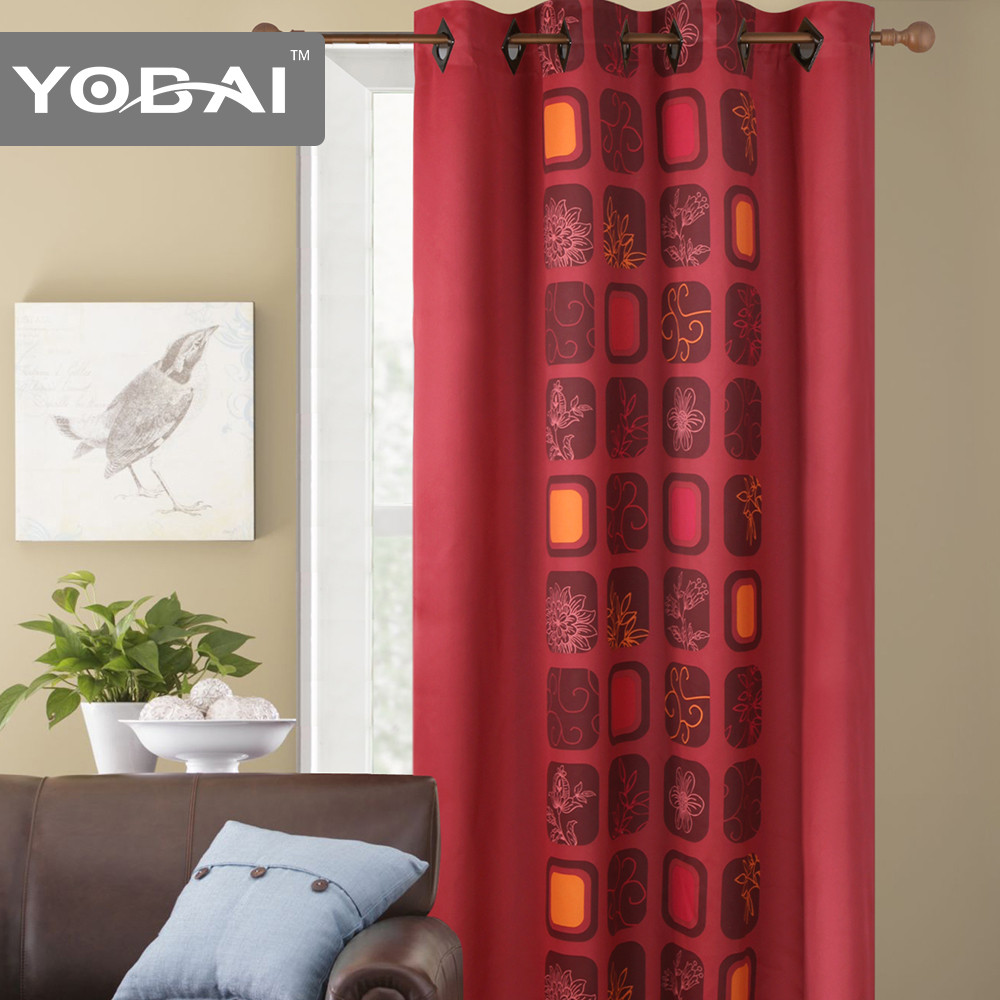 Custom Polyester French Door Fashion Line Photo Print Curtains