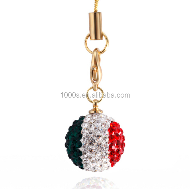 Shining crystal ball gift charm, national flag charm