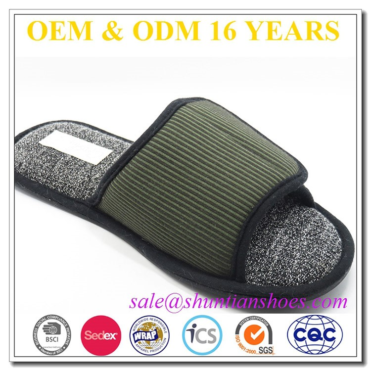 New arrival adult open toe indoor slipper with adjustable velcro closure