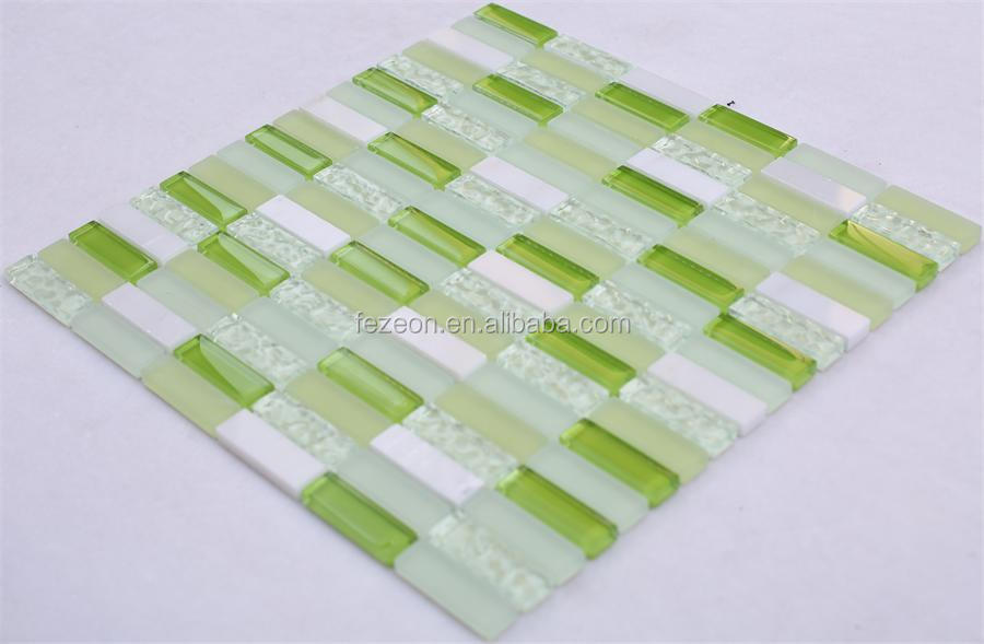 Decorative strip marble and glass mosaic tile green
