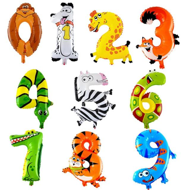 1 Piece 16inch Animal Number Foil Inflatable Balloon Wedding Happy Birthday Party Decoration Air Balloon Cute Baby Kid Toy