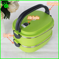 Two layers Plastic Stainless Steel Thermos Lunch Box With Lock
