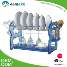 Commercial two tiers stainless steel dish rack for cabinets