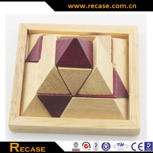Wooden Pyramid Shape Building Puzzle Wooden Brain Teaser Chinese Puzzles