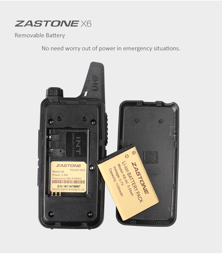 Dual Power Level Zastone two way radio 0.5/2 watt ZT-X6 handheld walkie talkie