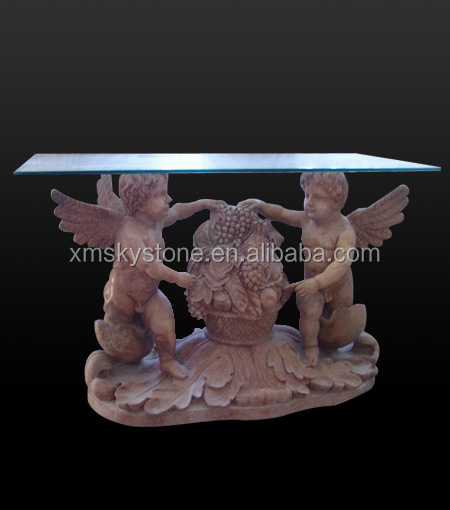 SKY-003 Glass Top Stone Base Carving Indoor Marble End Tables