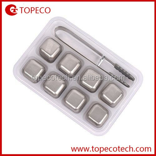 Set of 8 PCS Stainless Steel Whiskey Stones With Plastic Storage Box Tongs