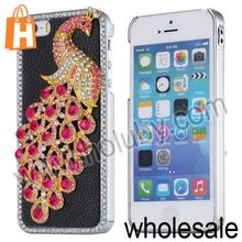 China Manufacturer for iPhone 5S Case Cover,3D Peacock Diamond Studded Leather Coated Electroplating Hard Case for iPhone 5S 5
