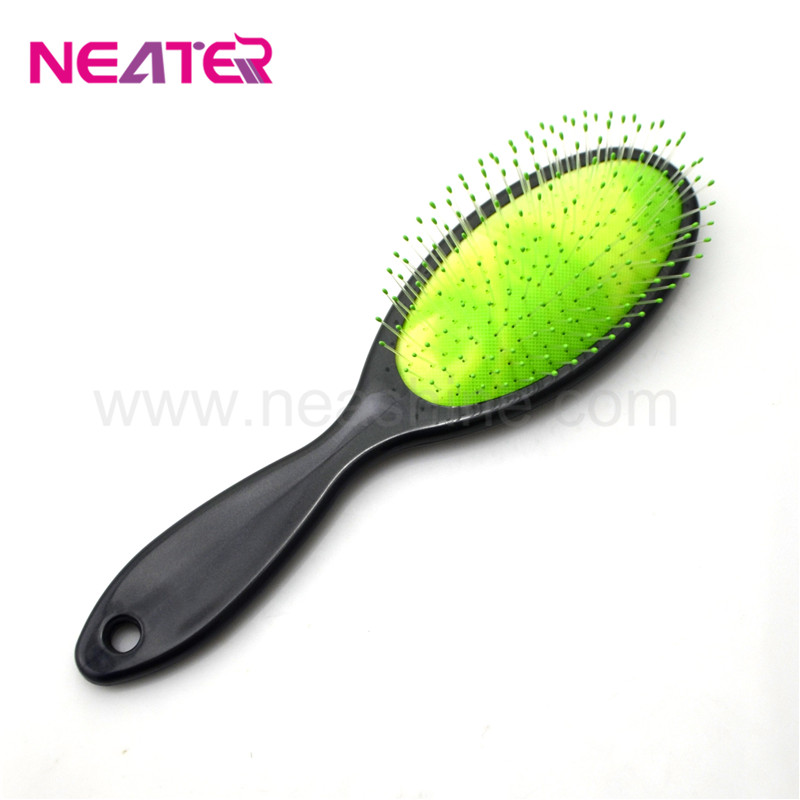 Popular colorful rubber oval Air-cushioned plastic wet detangling hair brush