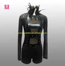 MBQ460 Adult sexy black lycra feather collar nude leotard boy shorts jazz dance costume