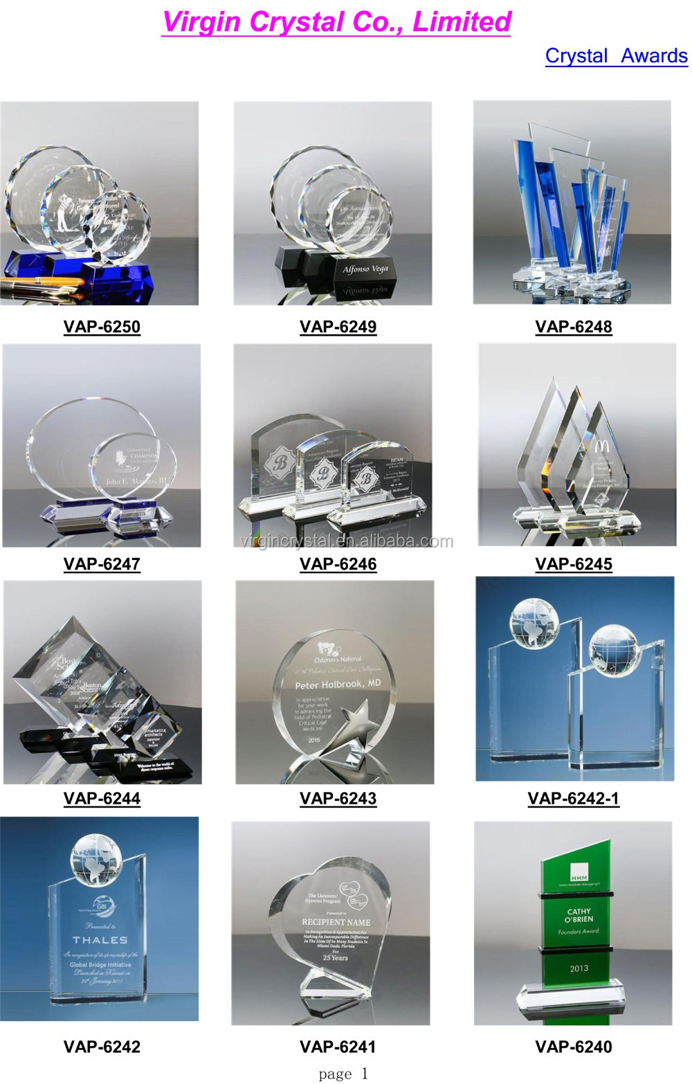 Custom glass crystal diamond trophy and awards with blue base