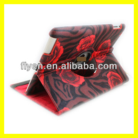 rose pattern desgin 360 degree rotating case for ipad 4 ipad 3 ipad 2 leather material smart cover with magnetic