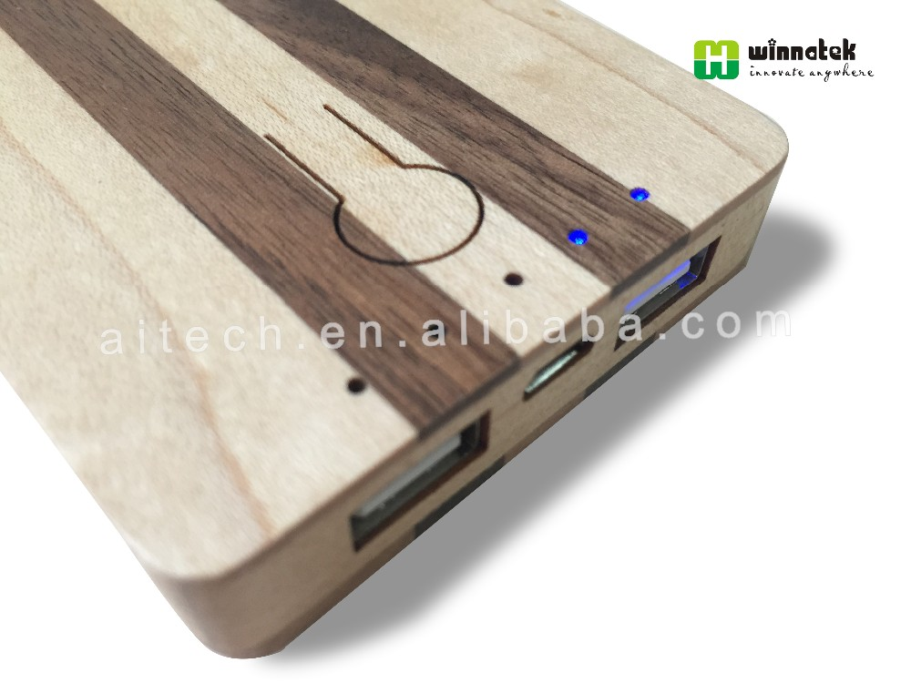 High capacity dual USB output port Adapter Charger wooden power bank 6000mah