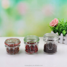 Glass Canister Quality Set of 3 Clear Round Jar with Hermetic Seal Bail