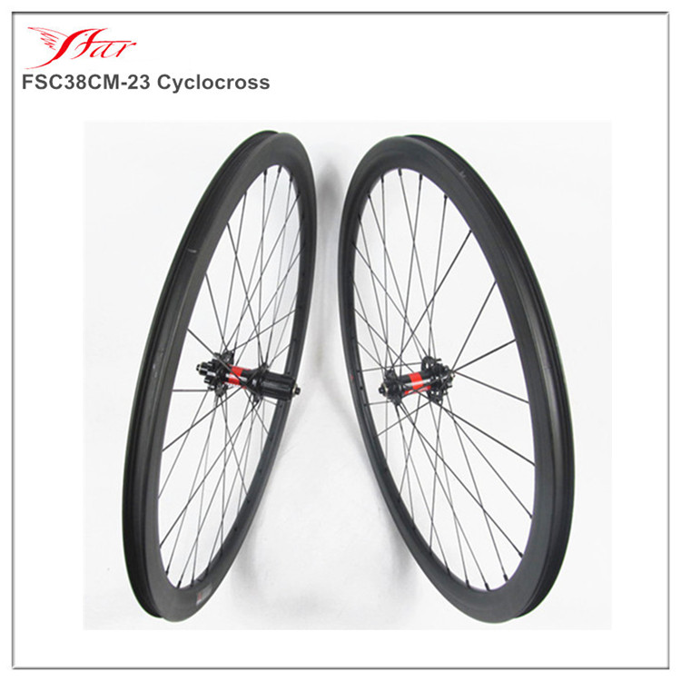 700C Full carbon disc brake wheels 38mmx23mm clincher and tubeless carbon cyclocross wheelset with DT 240S hub 28H