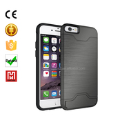 2016 PC + TPU Multi color hybrid TPU+PC kickstand mobile phone case for iphone 6/6s Cover with Credit Card Slot