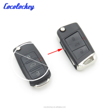 Wholesale 3 Buttons Flip Key Shell Uncut Blank For Volkswagen VW Golf 7 Jetta Passat Beetle Polo Bora Refit car key case