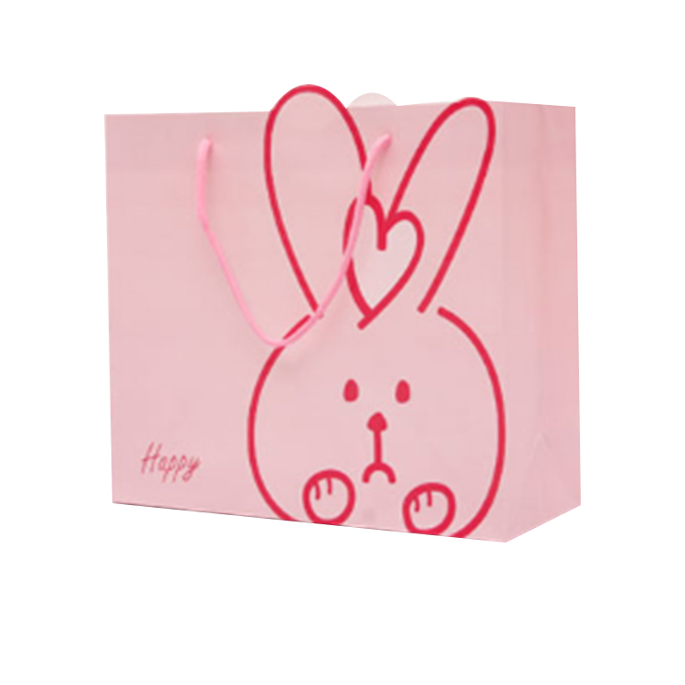 Pink color coated paper children gift bags of various sizes