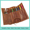 Genuine Leather Pencil Roll Pen and Pencil Case Gift Travel Pen Bag