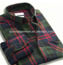 Winter long sleeve keep warm brushed check casual flannel shirts for men