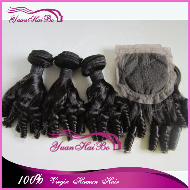 Large Stock Grade 7A peruvian virgin hair tip bouncy curls full head wearing funmi hair with closure