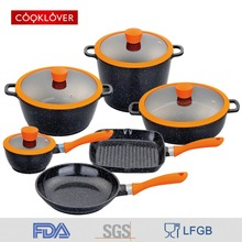 cooklover 19pcs die casting aluminum non stick ceramic coating induction bottom with silicon lid cookware set