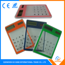 Fancy Office Gift Solar Powered Pocket Transparent Calculator