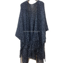 100% acrylic wool knitted poncho solid color fashion fork warm thicken shawl for women
