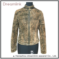 Outdoor tan motorcycle casual leather jacket for custom